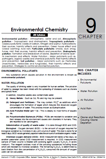 Chemistry Chapterwise Notes (Environmental Chemistry) : For JEE and NEET Exam PDF Book