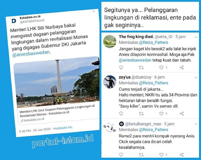 Menteri LHK Usut Dugaan Pelanggaran Lingkungan di Revitalisasi Monas, Netizen: Rame2 Mentri Serang Anies, Segala Cara Dicari