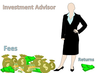 Young Business Woman with sacs of fees and small wad of investment returns