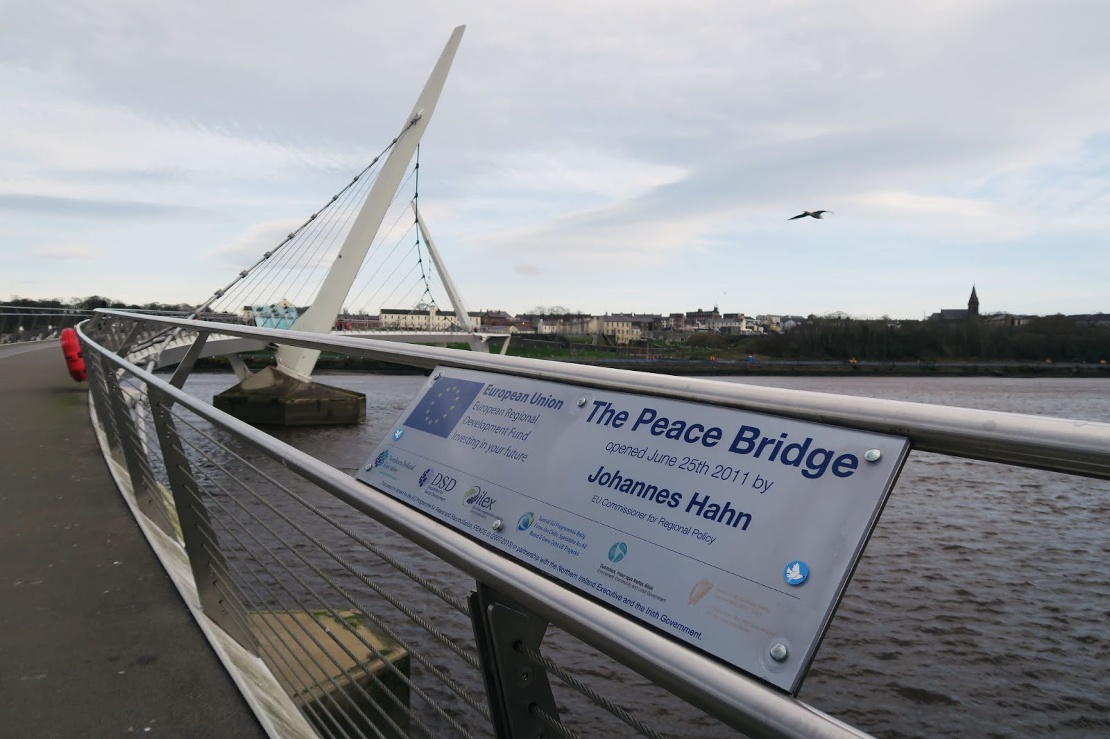 The modern looking Peace Bridge in Derry on a solo trip