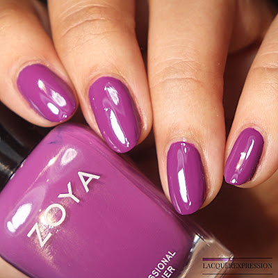 Swatch of a purple nail polish by Zoya called Evette