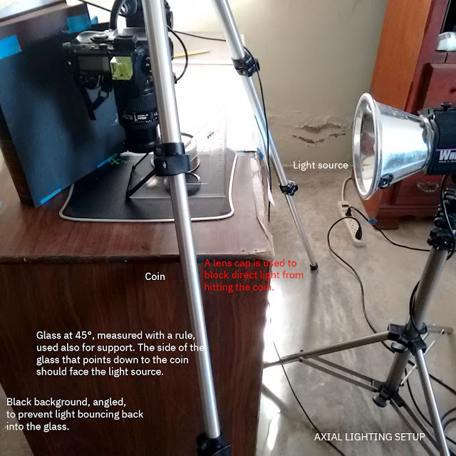 Axial lighting setup for coin photography