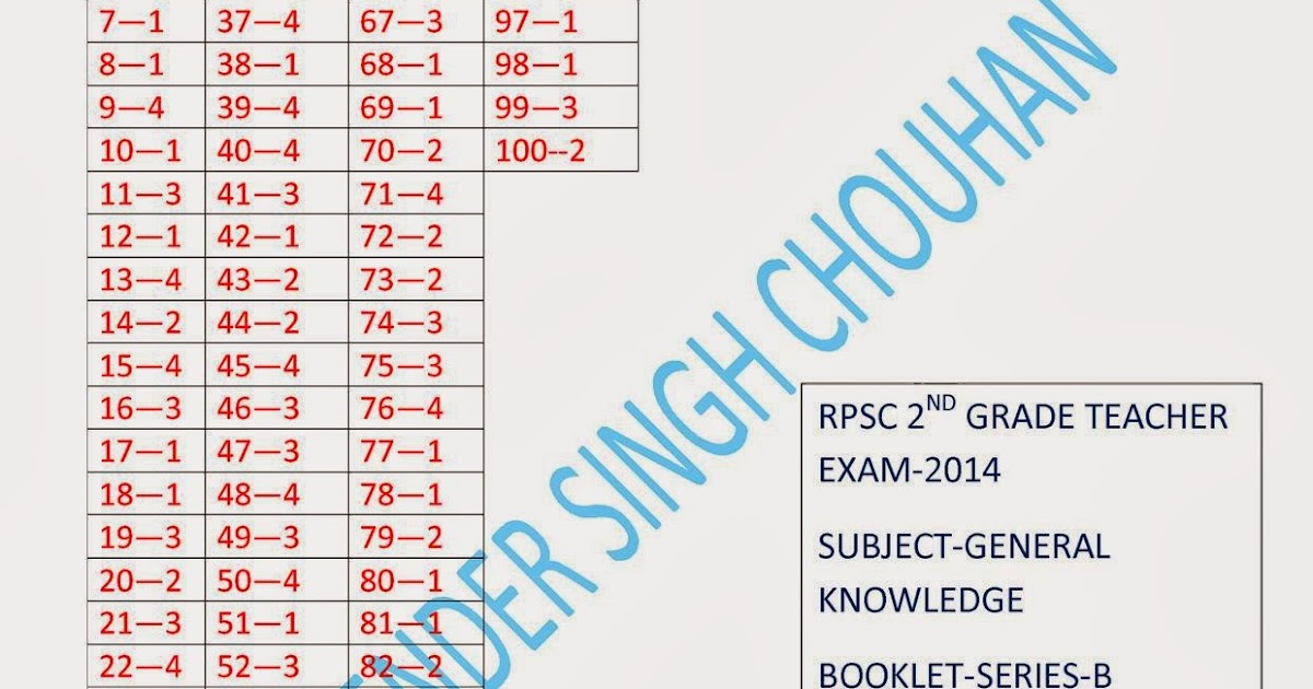 RPSC 2ND GRADE TEACHER EXAM -2014 ANSWER KEY OF SUBJECT