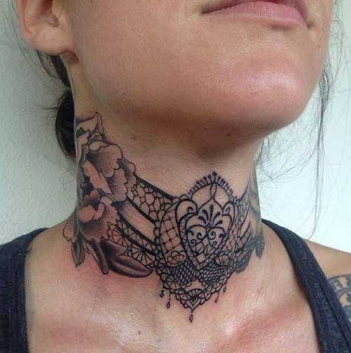 lace neck tattoo