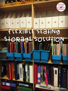 binder and duotang shelf- a solution for students organization with flexible seating in upper elementary