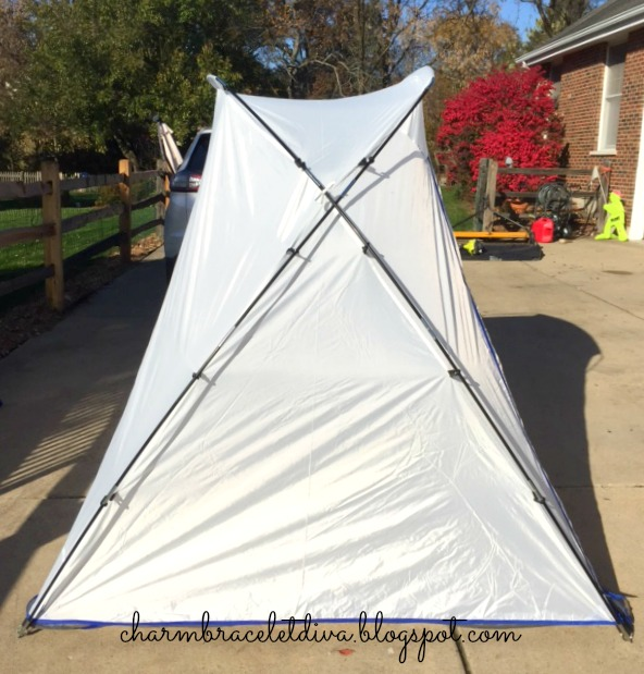 How to set up HomeRight spray paint spray shelter side view.