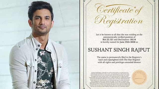 A fan registered Star on Sushant Singh Rajput name