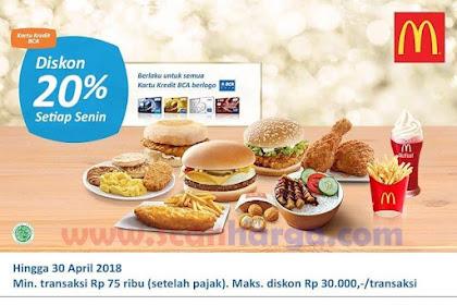 Promo McDonalds Terbaru Maret Diskon 20% Setiap Senin