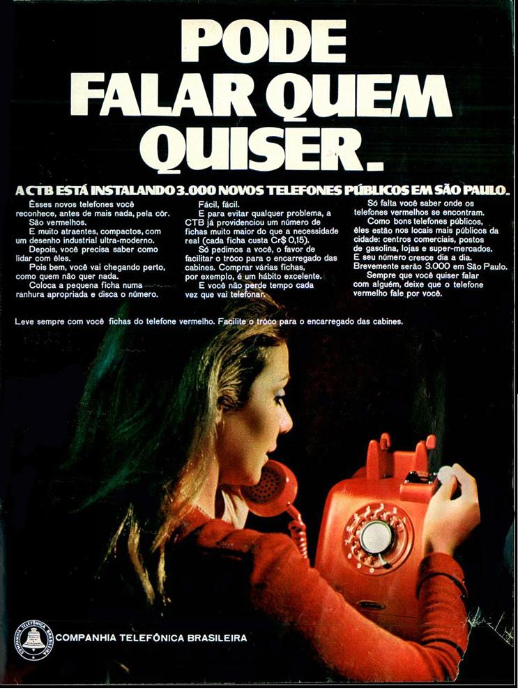 Campanha publicitária promovia a instalação de 3000 telefones públicos na cidade de São Paulo