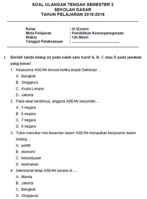 Soal Latihan UTS PKN Matematika SD Kelas 6 Semester II + Kunci Jawaban