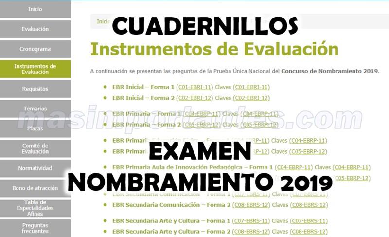 cuadernillos examen nombramiento 2019