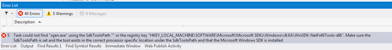 tech sunnyw  Net: MSBuild Error: Task could not find