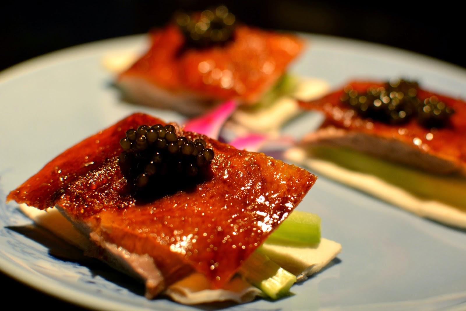 Hakkasan Peking duck with special reserve 'Qiandao' caviar