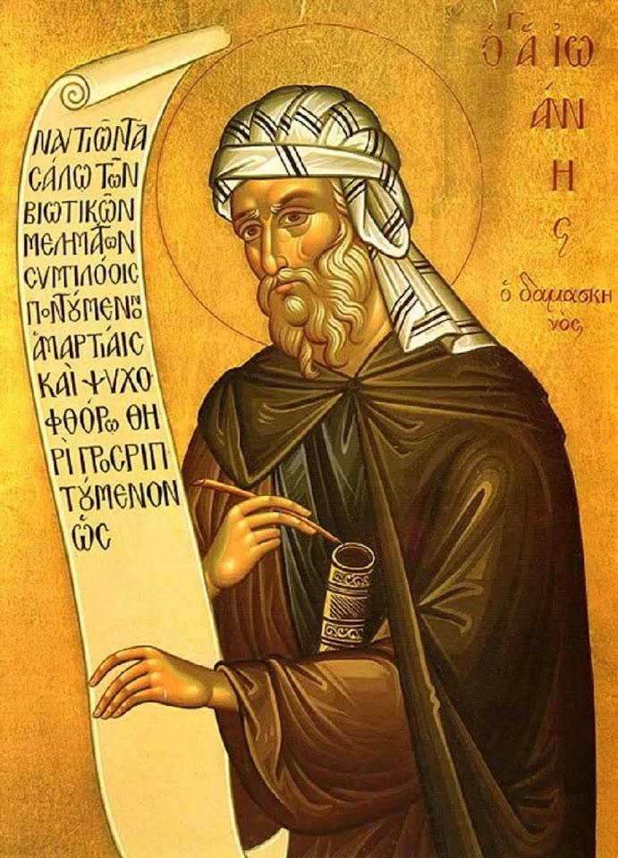 São João Damasceno, Padre e Doutor da Igreja (676 -749)