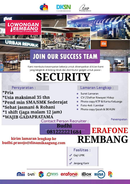 Lowongan Kerja Security Satpam New Erafone Rembang