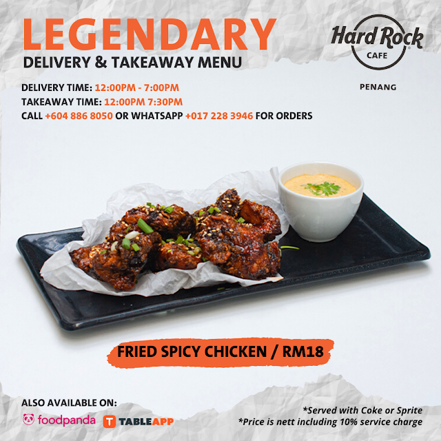 Delivery & Takeaway Menu from Hard Rock Cafe Penang!