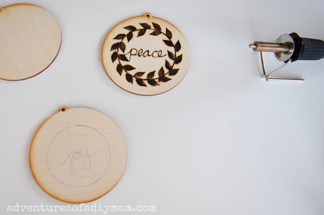 wooden ornaments and wood burning tool