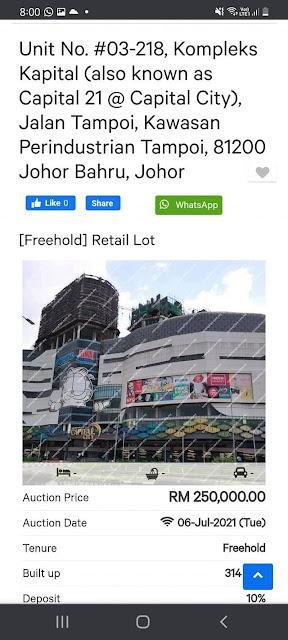 Lot Kedai Untuk Dilelong RM250K di Kawasan Perindustrian Tampoi, Johor Bahru
