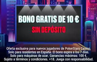 bono de 10 €: sin depósitos PokerStars Casino