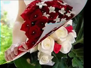 اجمل بوكيه ورد طبيعي احمر وابيض