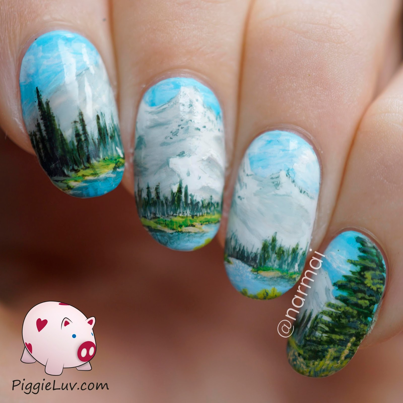 PiggieLuv: Nail art inspired by a Bob Ross painting