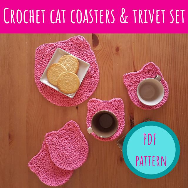Crochet cat coasters & trivet set