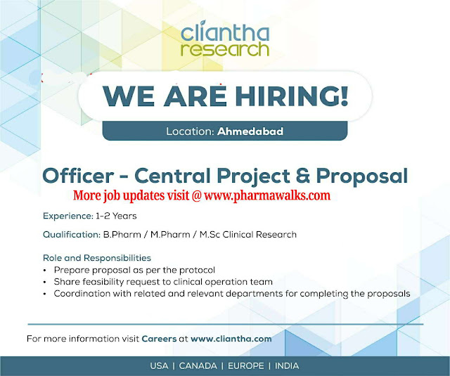 Job opportunities for B.Pharm / M.Pharm / M.Sc - Clinical Research @ Cliantha Research Ltd