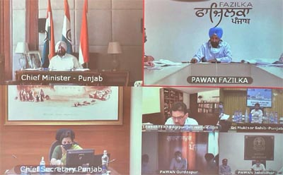 Captain Amarinder Singh during weekly review meeting of the Covid situation