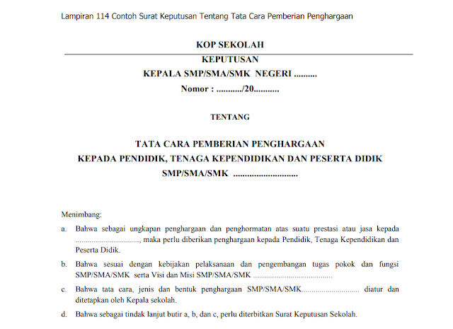 Contoh Surat Keputusan Tentang Tata Cara Pemberian Penghargaan Kepada Guru dan Siswa