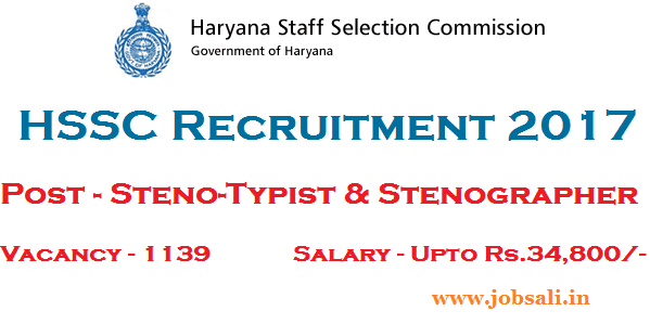 HSSC Stenographer Vacancy, Govt jobs in Haryana, HSSC Jobs Notification