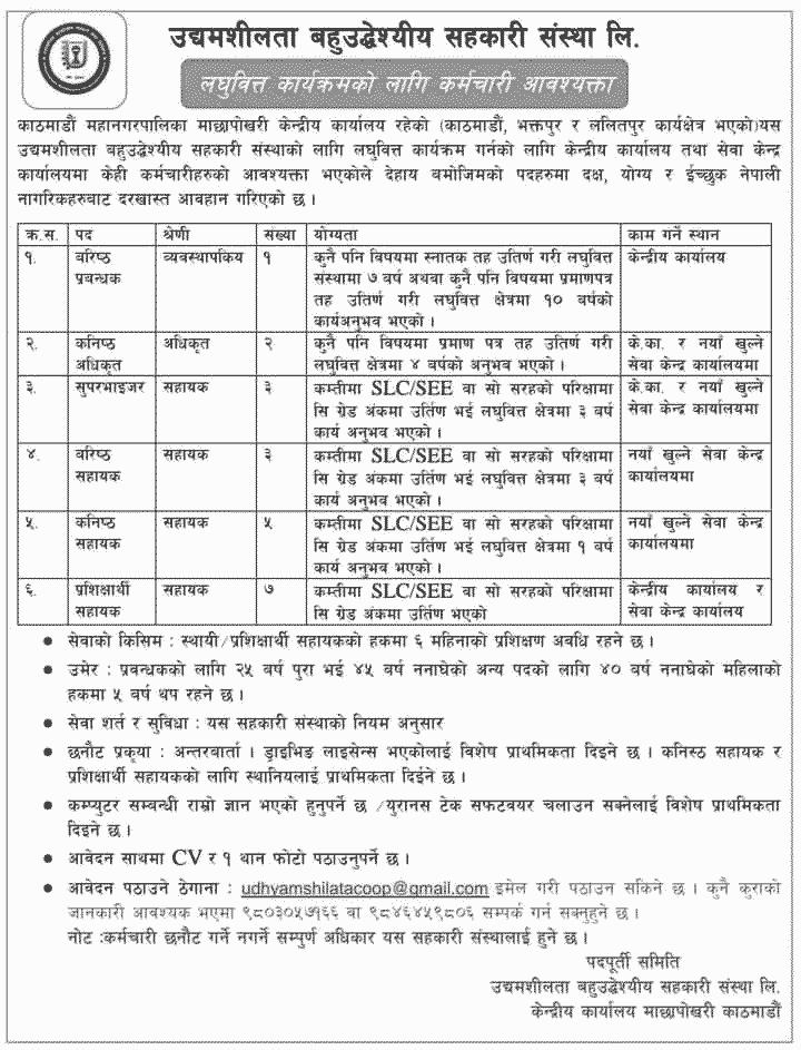 Udhyamshilata Sahakari Sanstha Limited Job Vacancy for Various Positions