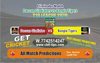 Who will win Today T10 League 2019, Eliminator Match Bangla vs Gladiators, 100% Sure Prediction