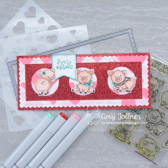 Hogs and kisses by Amy features Oink, Slimline Frames & Windows, Slimline Frames & Portholes, Newton's Valentine, and Bokeh Hearts by Newton's Nook Designs; #inkypaws, #newtonsnook, #cardmaking, #valentinescard