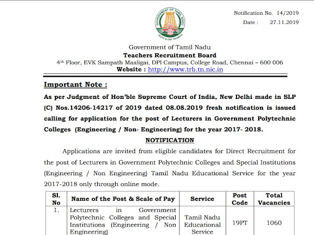 TRB Vacancy 2019 Application Form PDF Notification