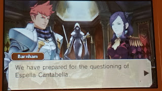 Screenshot of Conversation with Barnham in Professor Layton V.S. Ace Attorney for the 3DS.