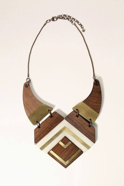 wood and metal womens necklace