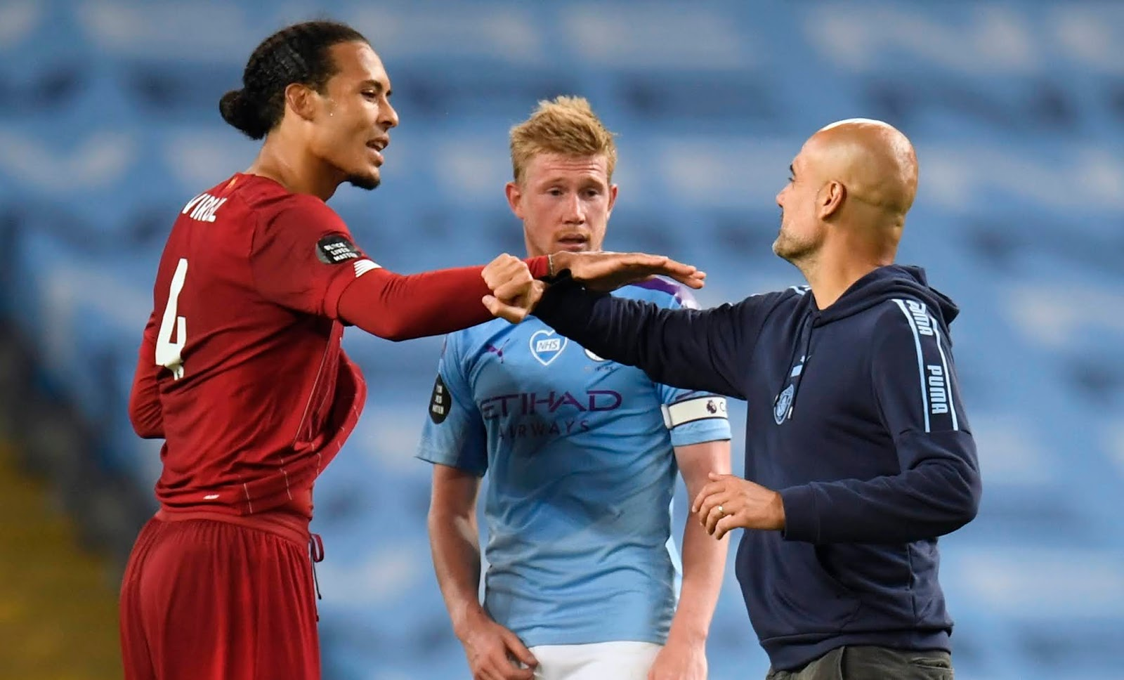 Virgil Van Dijk, Kevin De Bruyne and Pep Guardiola