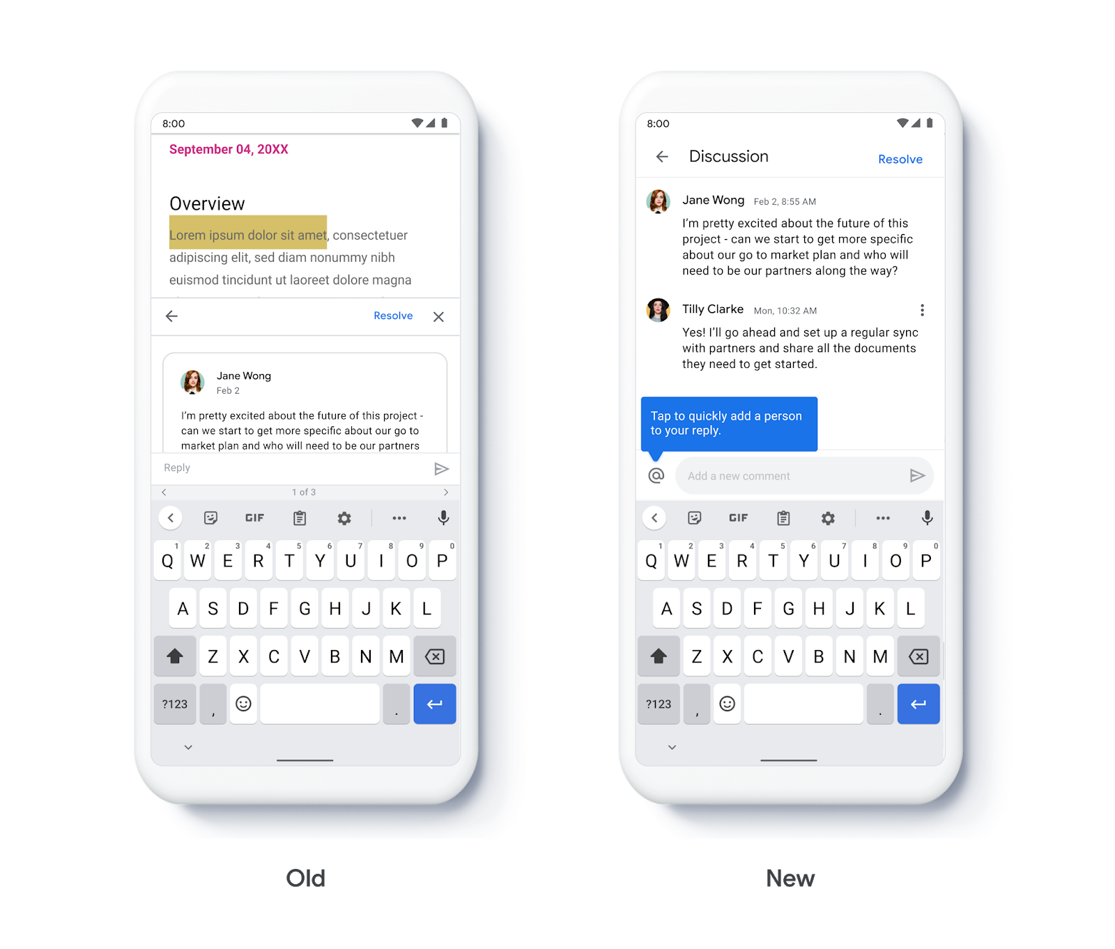 New comment interface for Google Docs, Sheets, and Slides on Android 2