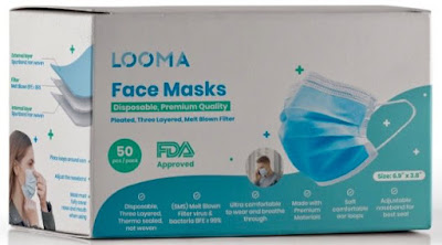 Box of Looma disposable face masks.