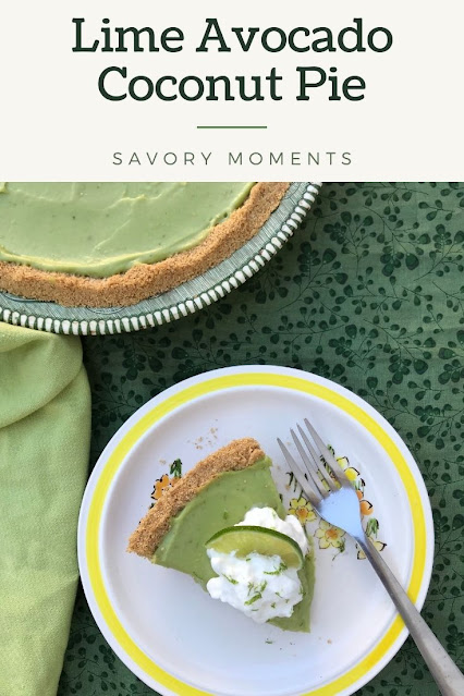 Slice of lime avocado coconut pie.