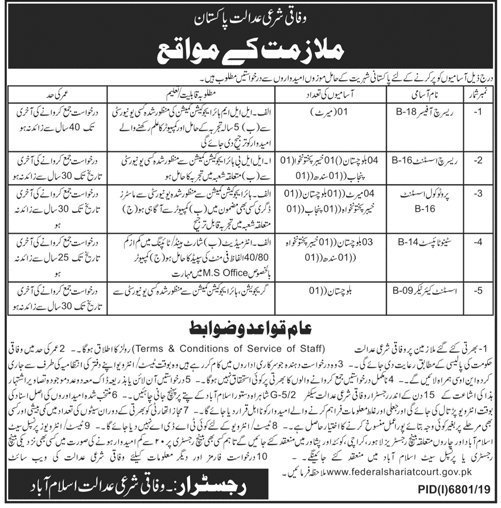 Federal Shariat Court Jobs 2020 For Research Assistant, Protocol Assistant, Steno typist, Research Officer & Assistant Caretaker