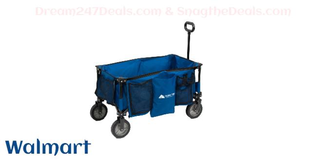 Ozark Trail Quad-Folding Wagon with Telescoping Handle, Blue