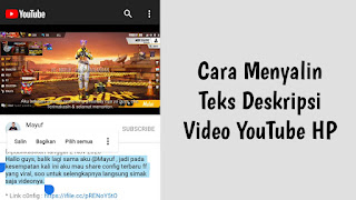 Cara Menyalin Teks Deskripsi Video YouTube HP