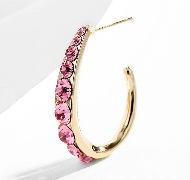 閃亮彎月形圈圈鋯石耳環