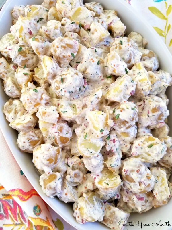 No-Peel Buttermilk Potato Salad! A recipe for potato salad with cool and creamy buttermilk and fresh herbs with pops of flavor and texture from stone-ground mustard and finely diced red onion.