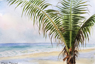 A water colour painting of a tree at Benaulim beach, Goa by Manju Panchal