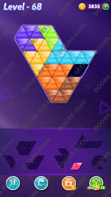 Block! Triangle Puzzle 7 Mania Level 68 Solution, Cheats, Walkthrough for Android, iPhone, iPad and iPod