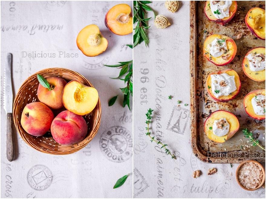 Pieczone brzoskwinie z kozim serkiem