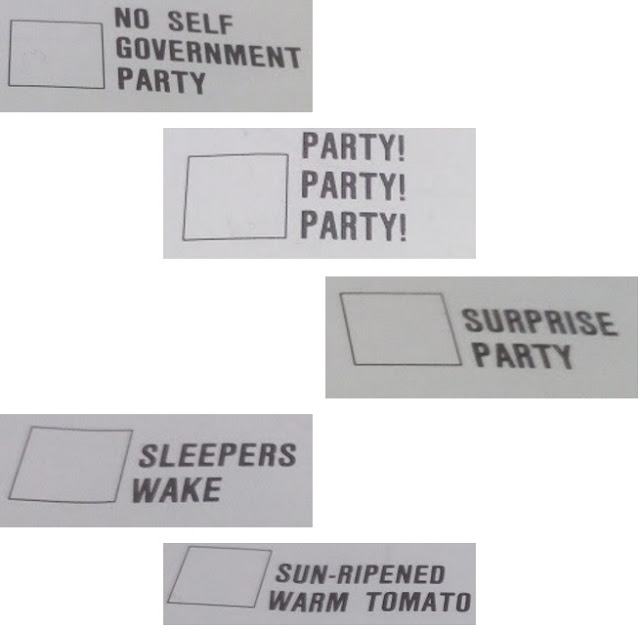 Examples of some of the protest parties in the first ACT Election