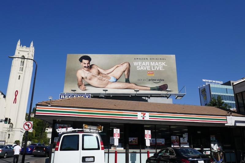 Wear Mask Save live Borat Subsequent Moviefilm billboard